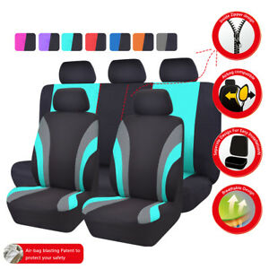 Universal-Car-Seat-Covers-Black-Mint-Green-Front-and-Rear-Fit-Truck-SUV-Honda-VW