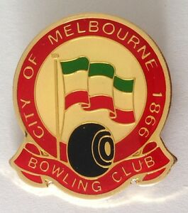 City-Of-Melbourne-Bowling-Club-Badge-Pin-Flag-Of-Italy-Rare-Vintage-L18