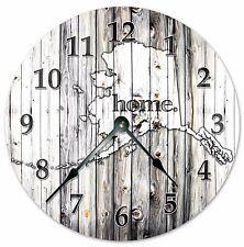 "ALASKA STATE HOME CLOCK Black and White Rustic Clock - Large 10.5"" Clock - 2212"