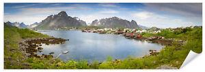 Postereck-0590-Poster-amp-Leinwand-Panorama-Reine-Lofoten-Norwegen-Landschaft