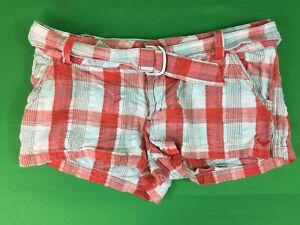 Cool Roxy Size 7 White Plaid Flat Front Bermuda Shorts Ladies Juniors Shorts Clothing, Shoes & Accessories