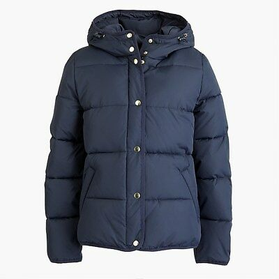 Details about NWT JCREW Womens Short Hooded Puffer Coat Jacket Navy Blue Size Medium MSRP $128