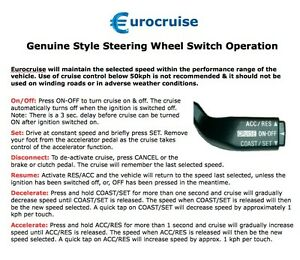 Cruise Control Should Not Be Used >> Details About Plug In Cruise Control Kit Steering Wheel Toyota Hiace