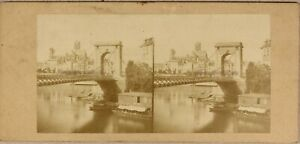 Parigi Mancano Pont Louis-Philippe c1858 Francia Foto Stereo Vintage Albumina