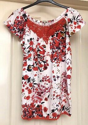 Tommy & Kate Red Floral Mix Boho Tunic Top, Size 12-14 - Lovely!