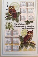 2016 KayDee OWLS Owl Cotton Linen Hanging Wall CALENDAR TOWEL New in Box