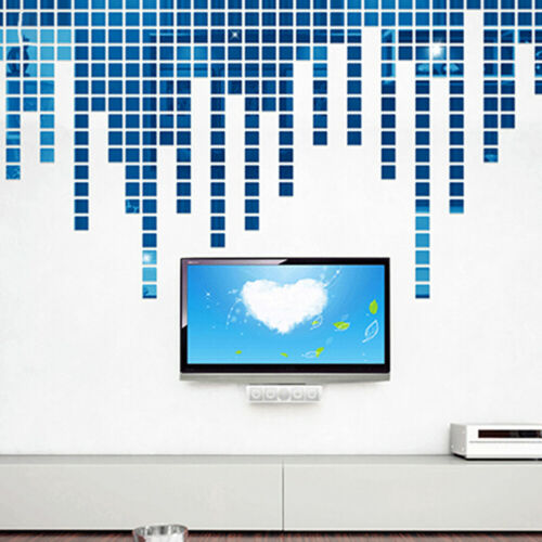 100 Piece Self-adhesive Mirror Tile 3D Wall Sticker Decal Mosaic Room Decor F