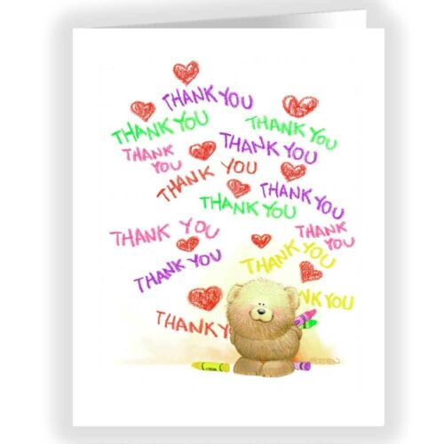 18 Boxed Note Cards /& Envelopes 14240 Cute Bear Thank You for Kids