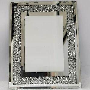 Picture-Photo-Frame-Sparkly-Silver-Mirrored-Diamond-Crush-Crystal-4x6-034-Photo