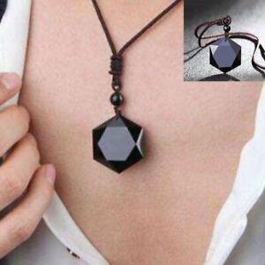 Obsidian-Stein-Hexagramm-Form-Anhaenger-Schmuck-Pullover-Kette-Ornamente