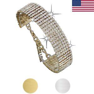 Fashion-Womens-Crystal-Rhinestone-Bracelet-Bangle-Wedding-Bridal-Wristband-Gift