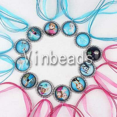 10pcs 49cm Mix Elsa & Anna Frozen Bottle Cap Charm Pendants Necklace Jewelry