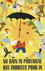 "Vintage Illustrated Travel Poster CANVAS PRINT No rain in portugal 24""X16"""