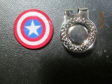 GOLF / Captain America Shield Logo Golf Ball Marker w/ Magnetic Hat Clip! New!!