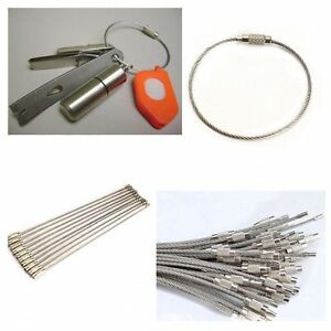 10PCS-Hiking-Tool-Wire-Keychain-Cable-Key-Ring-Stainless-Steel