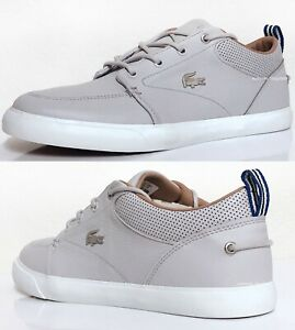Lacoste-Bayliss-120-Men-039-s-Casual-Leather-Boat-Shoes-Sneakers-Grey-White-New