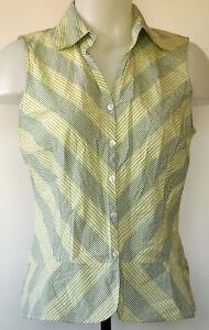 9e776a0e79ca54 Ann Taylor LOFT Green Striped Sleeveless Button-Front Fitted Shirt 8 ...