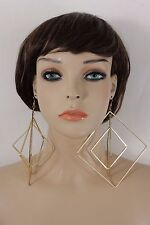 Women Big Earrings Set Gold Metal Hook Closer Large Hoop Squares Urban Geometric