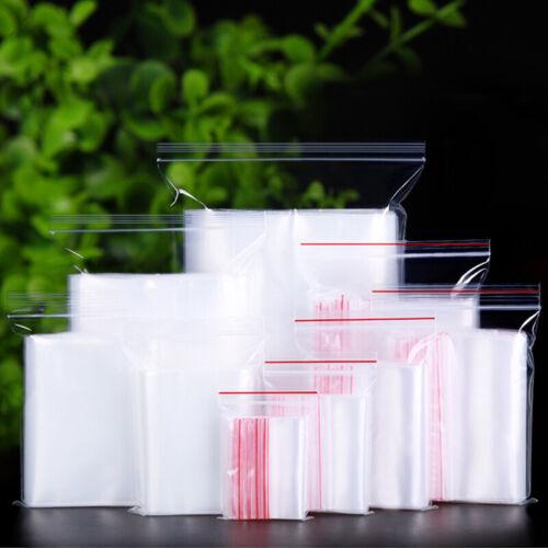 100PCS Clear Press Zipper Seal Grip Bags//Resealable Home Storage Plastic Bag