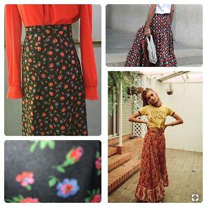 Rare Fab Vintage 60s 70s  Flower Power Ditsy Boho Folk Cotton Maxi Skirt M