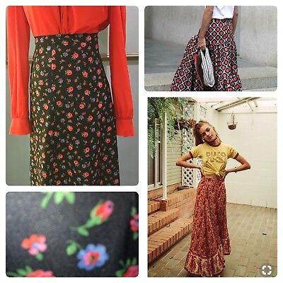 Flower power floral 70s peekaboo long skirt size medium 8 to 10