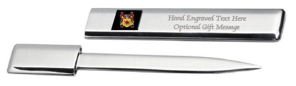Matchet Famille  Blason Heraldic Engraved Ouvre-Lettre