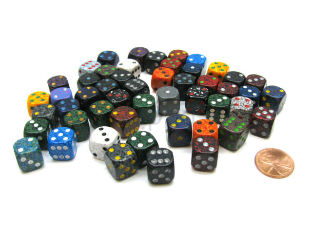 Loose Speckled 12mm D6 Ches Dice