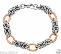 Byzantine Bracelet 14k Rose Gold Clad Stainless Steel By Design Qvc J276310