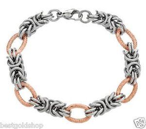 Byzantine Bracelet 14k Rose Gold Clad Stainless Steel By Design Qvc