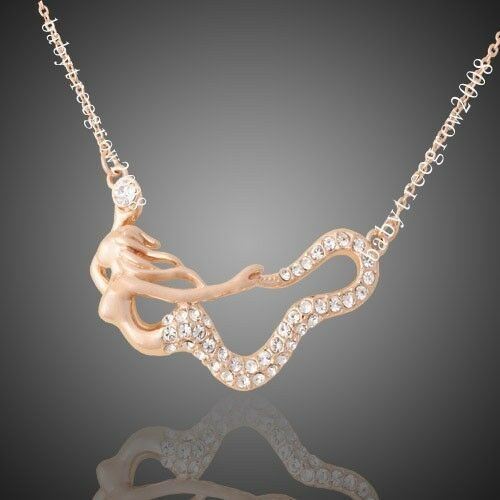 18K Rose Gold GP Clear  Crystal Mermaid  Pendant Fashion Necklace W30