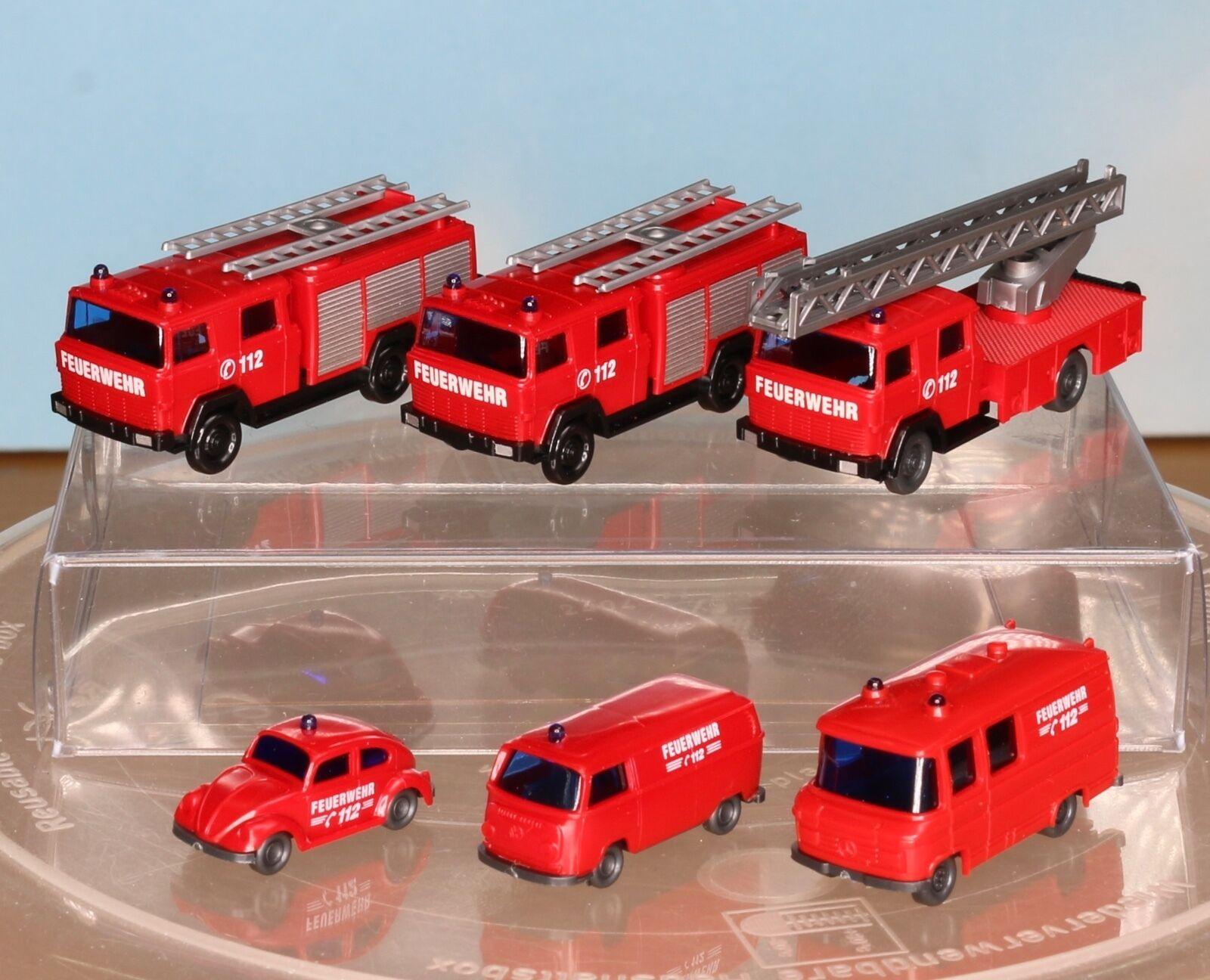 Wiking 096104, 096203, 093449, piste de N-, les pompiers-Auto-Paquet des années 70er