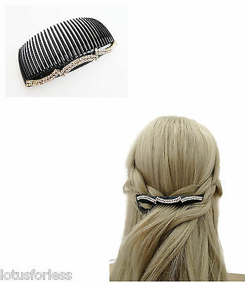 Gorgeous Black Diamante Hair Comb Slide Plastic 12 cm Bridesmaid Bridal