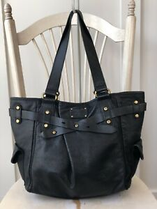 FOSSIL-ADRINA-Extra-Lg-Black-Leather-Shopper-Tote-Shoulder-Bag-Handbag-Carry-All