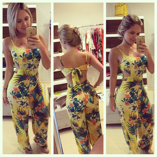 Vintage Celeb Summer Beach Floral Sexy Backless Playsuit Long Jumpsuit Romper