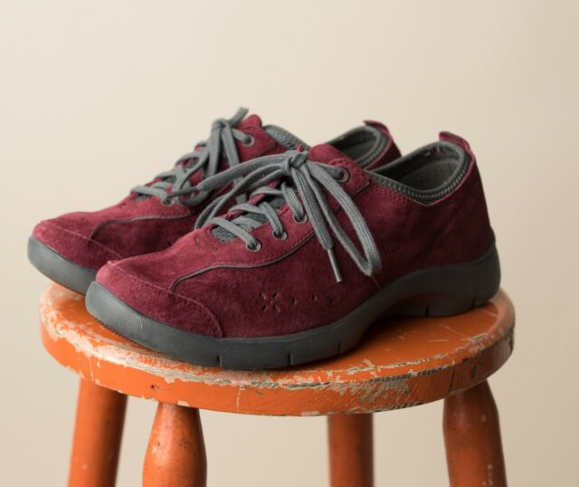 Dansko Suede Lace Up Casual Sneaker Tennis Shoes Elise Wine Gray 40