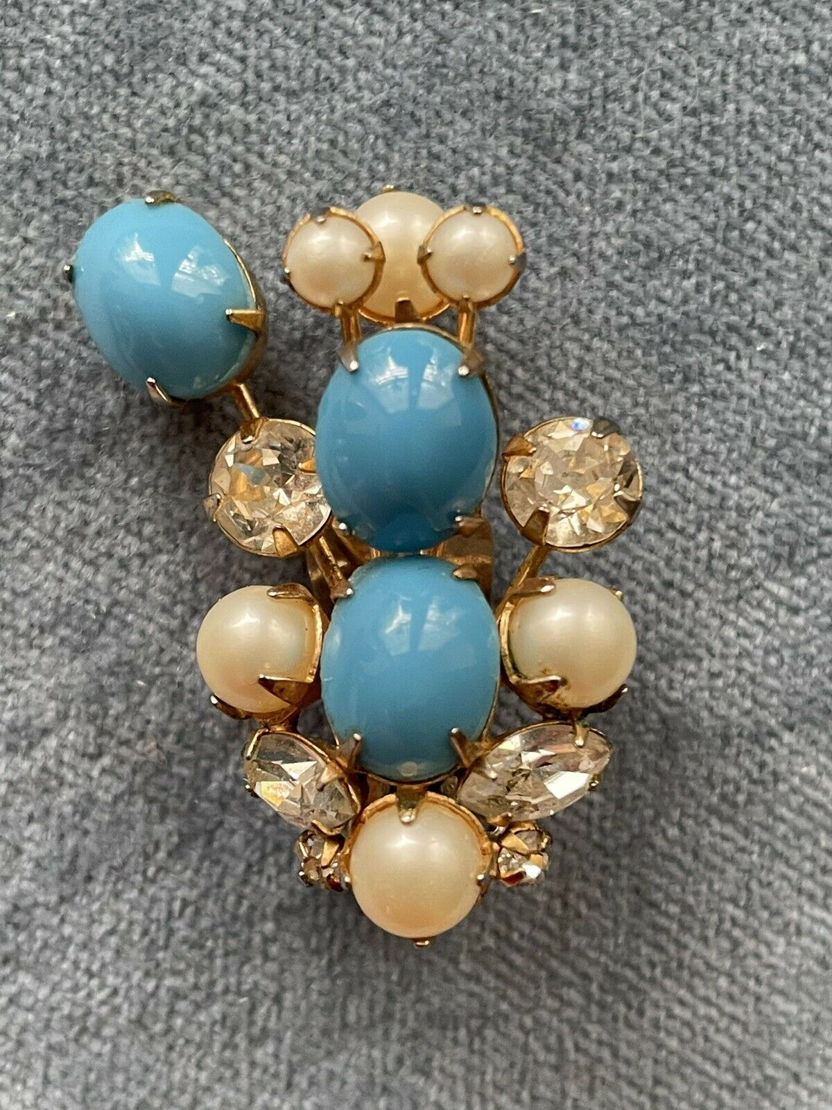 Vintage Signed Arnold Scaasi turquoise clip on ea… - image 2