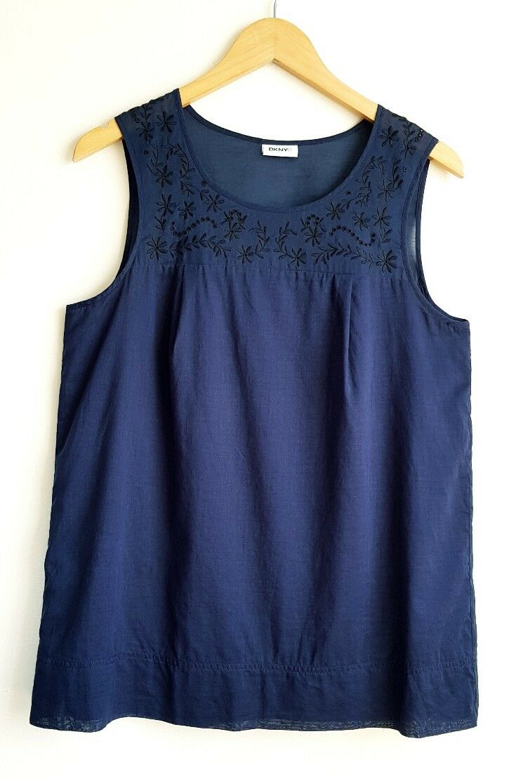 DKNY LADIES SLEEVELESS NAVY BLOUSE TOP SIZE 12-14