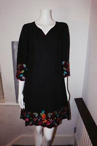 Vestido-De-Verano-East-Floral-Negro-cuello-en-V-manga-3-4-Tunica-Lino-Algodon-Playa-Shift