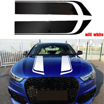 A Pair Car Bonnet Racing Stripes Decals Sticker Graphic For Ford Audi BMW White