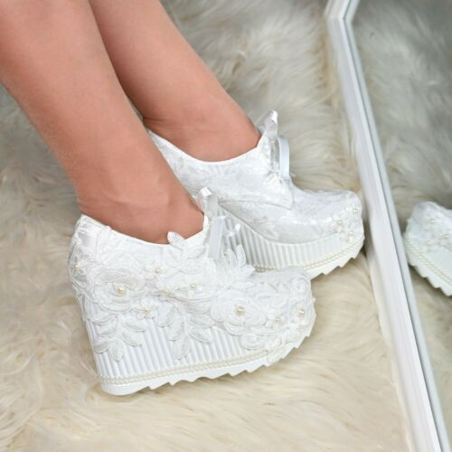 Womens Bridal Lace up Wedges Wedding Comfy Platform Closed Shoes Booties Size