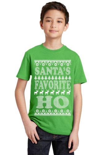 Santa/'s Favorite Ho Ugly Christmas Youth Kid/'s T-shirt funny Xmas tee