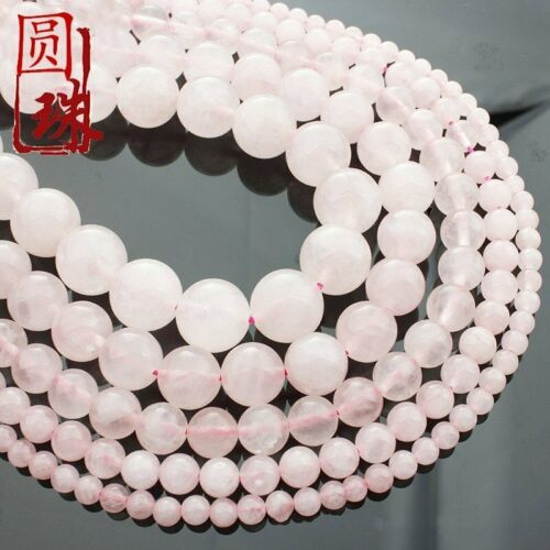 Wholesale 1Strand Delicate Natural Rose Quartz Ball Loose Beads 15.5inch AE3357