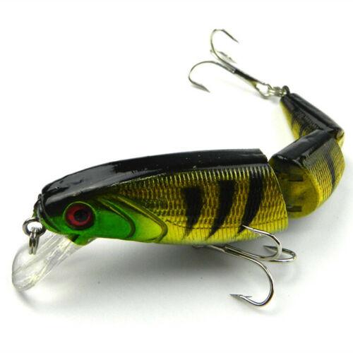 8pc Fish Lures Bass Baits Lifelike 3D eye 3Jointed Minnow Crankbaits 6# Hook 14g