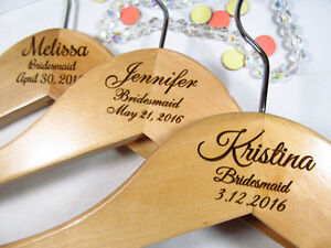 Details About 3 Personalized Hangers Engraved Wood Bridesmaid Bridal Party Keepsake 3 Lines