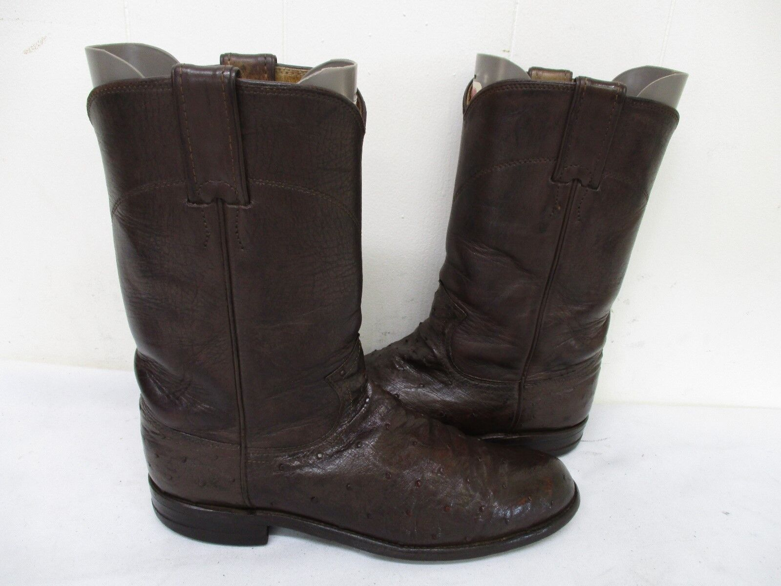 Justin Brown Full Quill Ostrich Leather Roper Cowboy Boots Womens Size 7.5 AA