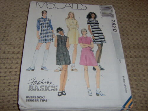 McCalls Pattern 7820 Ms FASHION BASICS Pullover Knit Dress w//Collar Sleeve Vars