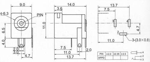 pour jack 5.5 x 2.1mm .C13.1.3 module interne prise femelle à 3 pin broches