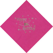 Pack of 15 Luxury 18th Birthday Foil Finished Large Napkins 3 Ply