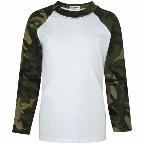 Enfants Filles Vert Camouflage T Shirt Plain Baseball Américain Manches Longues Raglan