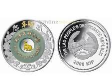 2000 KIP Lunar 2 Unzen oz Silber Jahr des Hase Rabbit Laos 2017 PP Jade